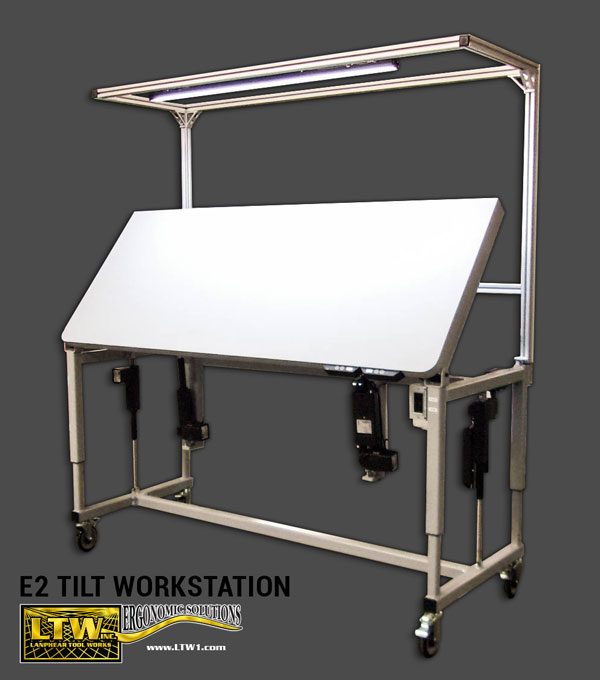 E2 Tilt Workstation Custom Made To Order Tilting and Height Adjustable Workstation