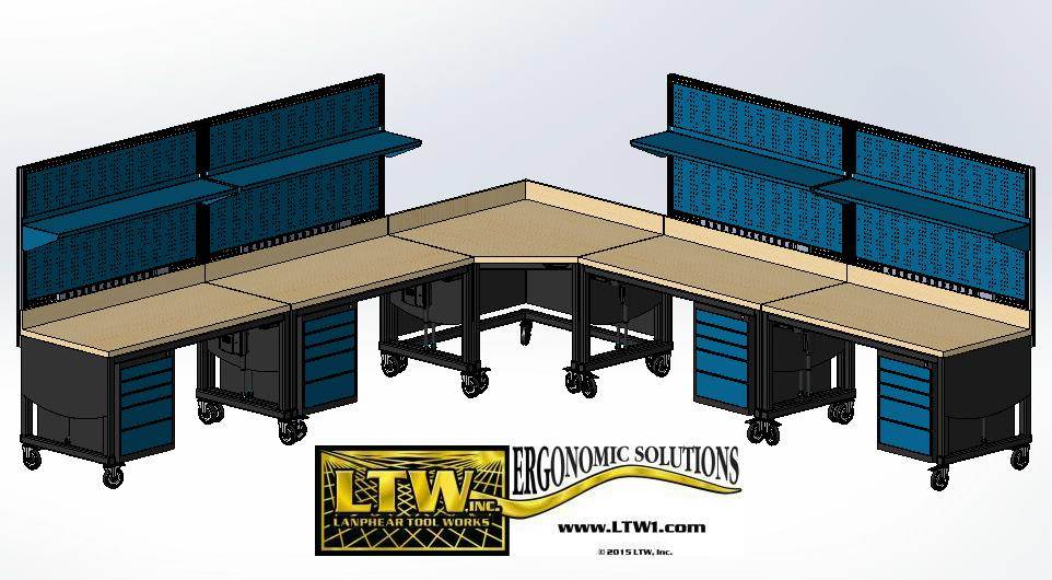 E2 Workstation System - Four height adjustable workstations together