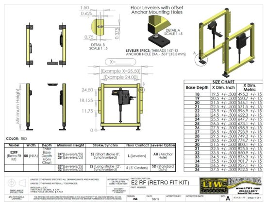 LTW, Inc. LTW Ergonomic Solutions Industrial E2 RF Kit Drawing