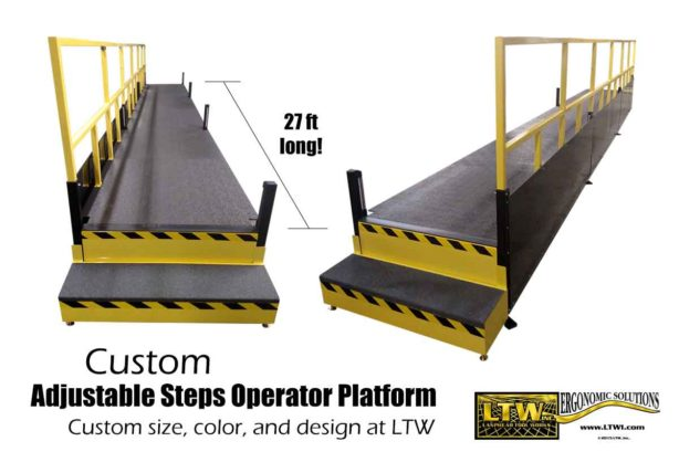 Large Custom Industrial Operator Lift Platform with height adjustable steps