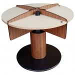 LTW, Inc. LTW Ergonomic Solutions MConference Wood Mushroom Meeting Table Standing Meeting Table adjustable height conference table round mushroom