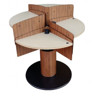LTW, Inc. LTW Ergonomic Solutions MConference Wood Adjusted Mushroom Meeting Table Standing Meeting Table adjustable height conference table round mushroom