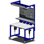 height adjustable toy manufacturing workstation