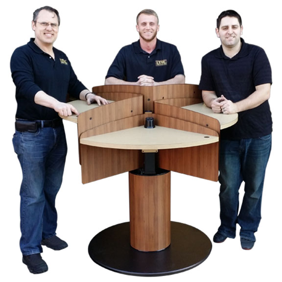 LTW, Inc. LTW Ergonomic Solutions MConference Wood People Mushroom Meeting Table Standing Meeting Table adjustable height conference table round mushroom