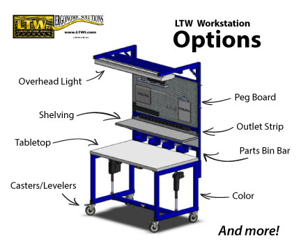 Height Adjustable Industrial Workstation Options by LTW Ergonomic Solutions