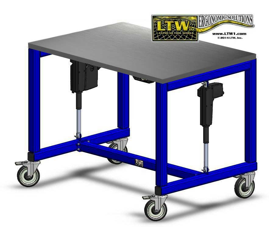 height adjustable textiles table