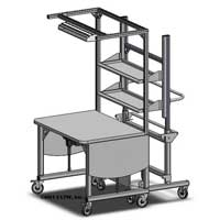 height adjustable packing and shipping workstation