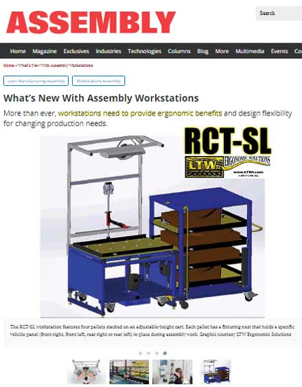 Assembly Magazine What's New With Assembly Workstations - Height Adjsutable Workstations by LTW Ergonomic Solutions