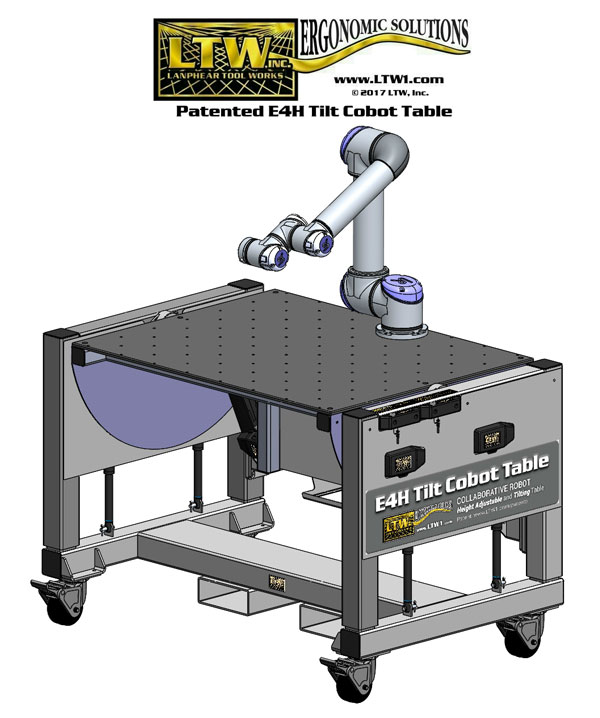 E4H Tilt Cobot Table CoBase™ Height Adjustable table for collaborative robots by LTW Ergonomic Solutions