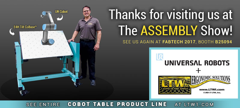 E4H Tilt Cobot Table CoBase™ LTW Ergonomic Solutions with Universal Robots at The Assembly Show 2017