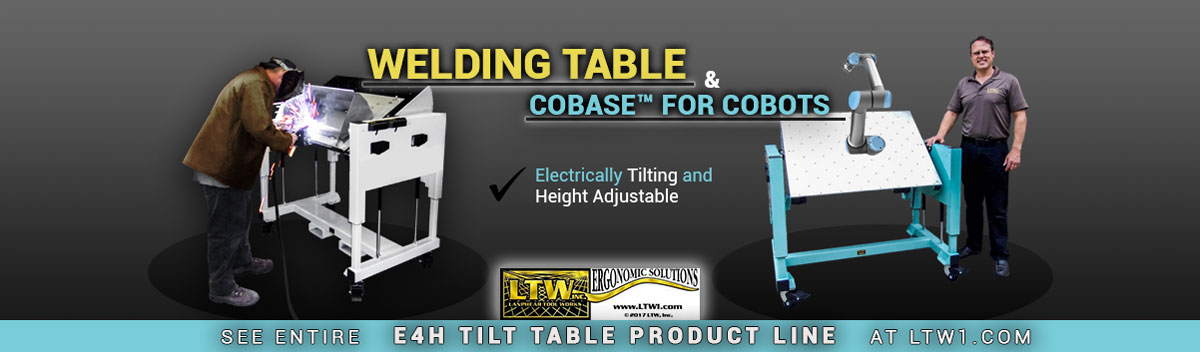 Patented and Height Adjustable Cobase Cobot Table and Welding Table by LTW Ergonomic Solutions
