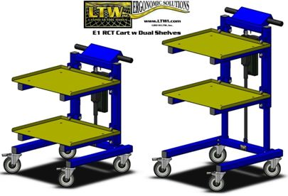 LTW E1 RCT Height Adjustable Material Handling Cart with Dual Shelves