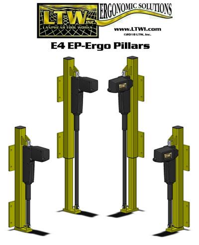 LTW, Inc. LTW Ergonomic Solutions E4/E4H Industrial RF Ergo Pillars - Height Adjustable Retrofit Kits