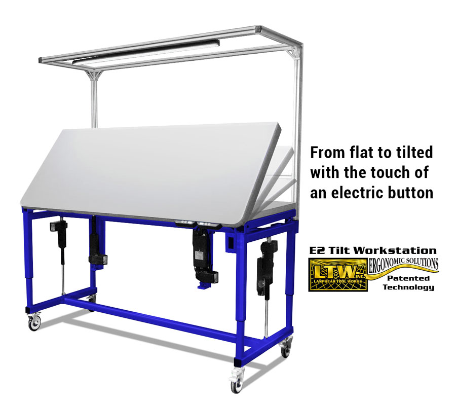 Adjustable Tilt Table - Ergonomic Height Adjustable Tilting Workstation by LTW Ergonomic Solutions