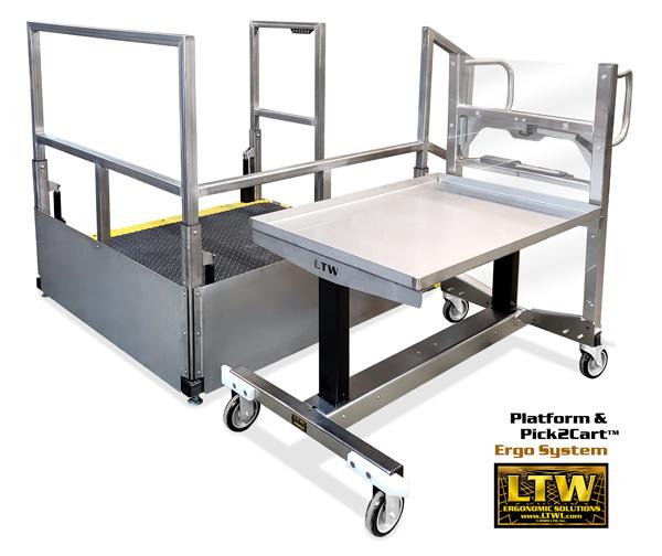 LTW Platform and Pick2Cart Ergo System by LTW Ergonomic Solutions | Height Adjustable Industrially Ergonomic Platform and Cart for CNC